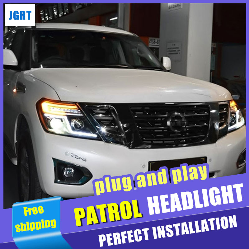 Car Styling Headlight assembly 2012-2017 for Nissan patrol LED DRL Lens Double Beam H7 hid kit with 2pcs.