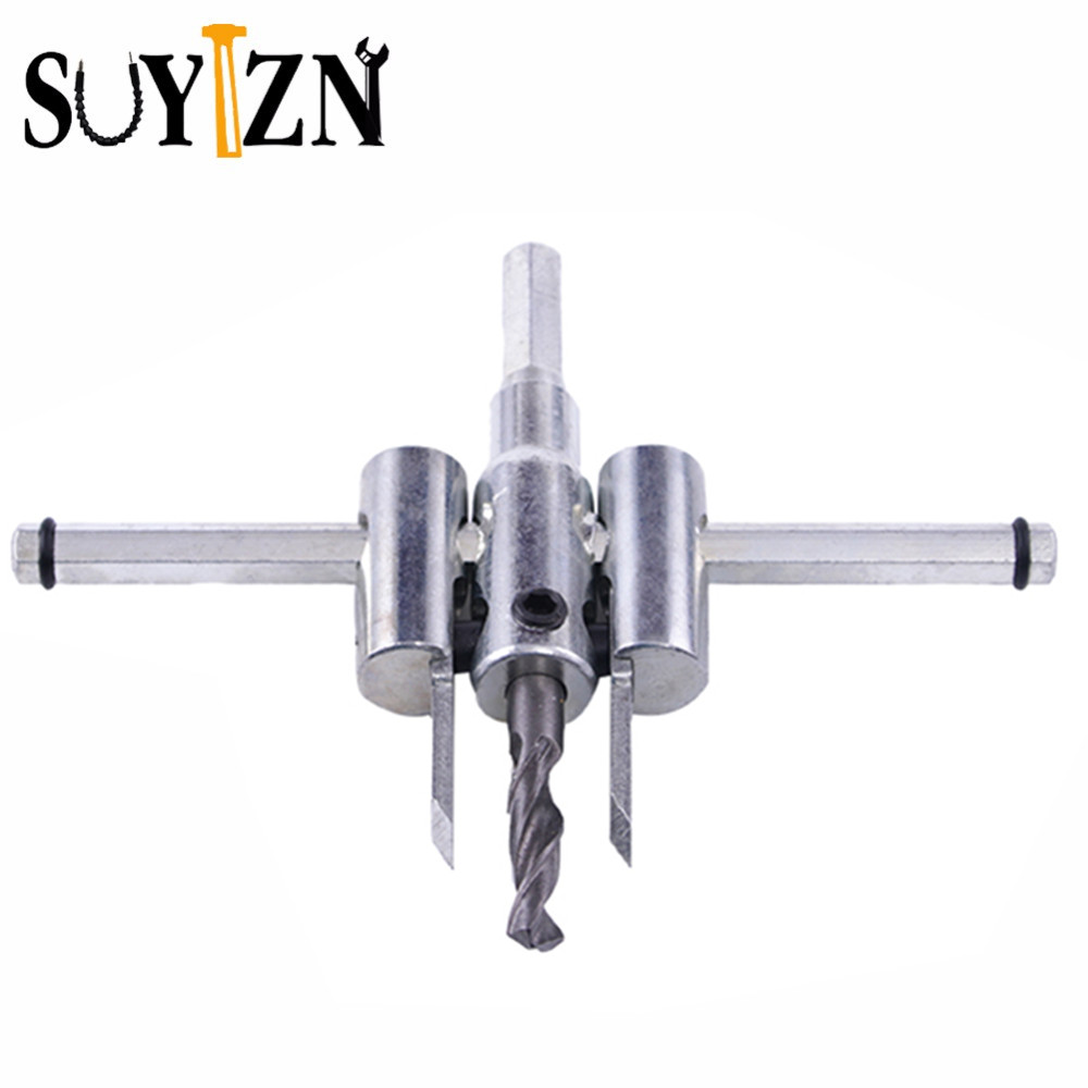SUYIZN Adjust Wood Circle Hole Saw Cutter Tool Kit Set 30mm-120mm Cordless Drill Bit DIY Tools Accessory Reamer Drill ZK102 jelbo cone step drill hole tools countersink 3pc drill bit set power tools step drill bit for metal power tools set hole cutter