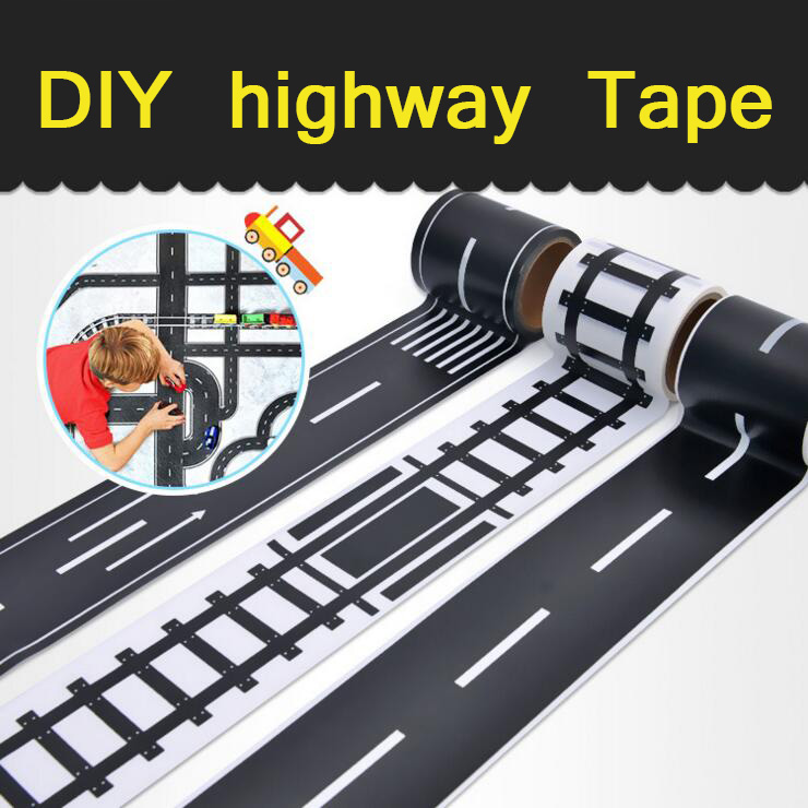 DIY Simulation Highway Railway Tape Set Puzzle Diy Sticker Toys for children Simulation Scene Educational Toy 5*500cm