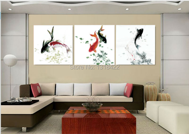 Decoration chinese koi fish feng shui fancy carp modern for Hotel wall decor
