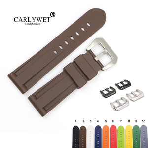 Ремешок для часов CARLYWET, 24 мм, серый, белый, черный, желтый, оранжевый, коричневый, водонепроницаемый, из силиконовой резины