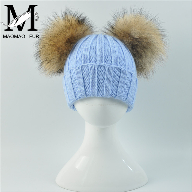 9a1d8dcba0f3c7 Baby Winter Beanie Hat with Two Raccoon Fur Pom Pom Winter Wool Blend Knit  Stripe Cap Double Natural Fur Bobble Ball Kids Hat