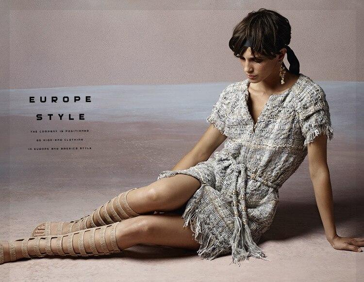 18 autumn Fashion show women's high-end quality tweed woven lace tassel dress Short sleeve miniskirt lattice Belt mini dress 17