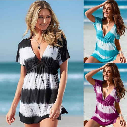 W10815 Womens Casual vestidos diarios ropa breve suave manga corta Mujer verano Color morir traje playa Tops imprimir