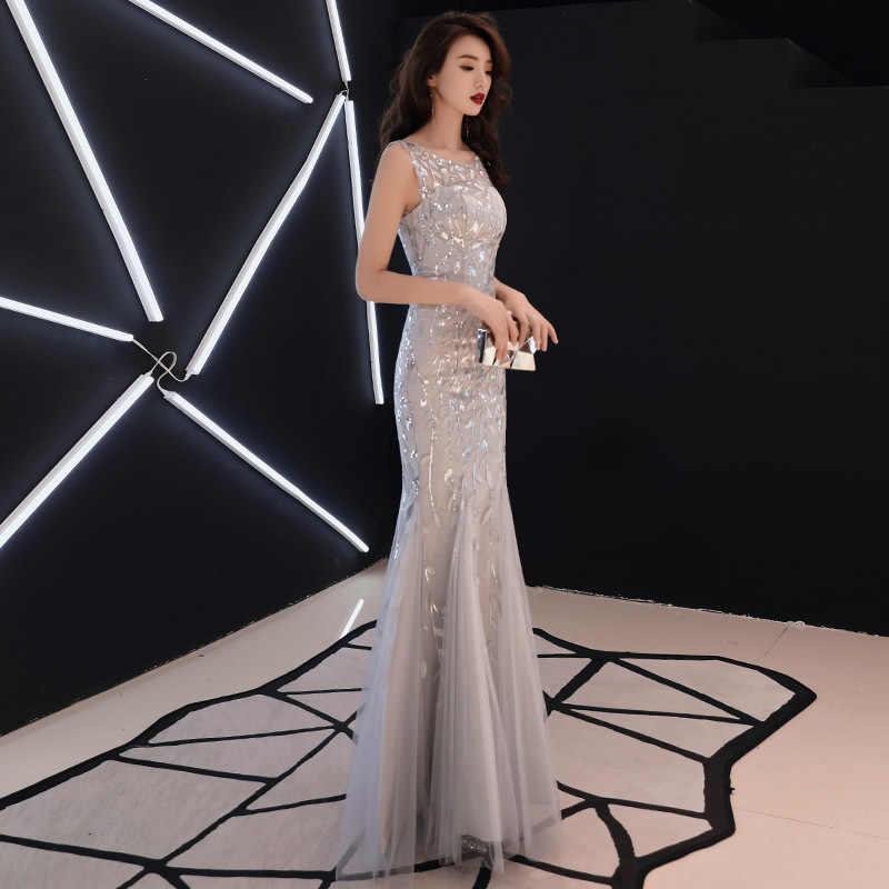 Это YiiYa вечернее платье Щепка серый o-образным вырезом без рукавов модная нарядная платье-труба Вышивка узкие длинные Платья для вечеринок E047