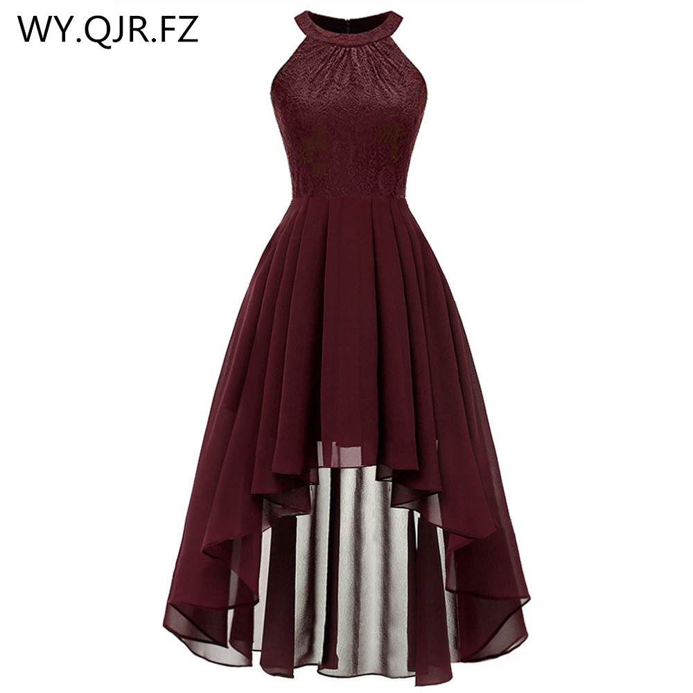 OML538#Neck Lace Chiffon Halter Bridesmaid Dresses Front Low Back High Dark Blue Fink Wine Red Violet Prom Party Dress Wholesale