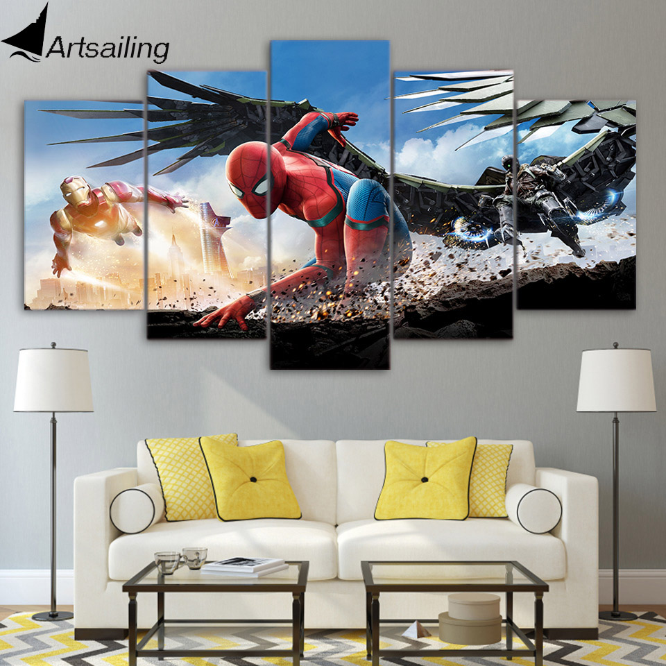 5 piece canvas painting spiderman homecoming HD posters and prints canvas painting for living room free shipping XA-1842C