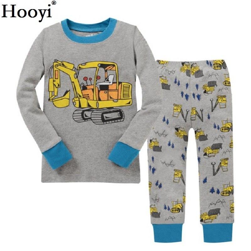 Digger Children Pajamas Sets Baby Boys Sleepwear Clothes Suit Baby Boy PJS Black T-Shirt + Pant 2-Pieces Suit 100% Cotton