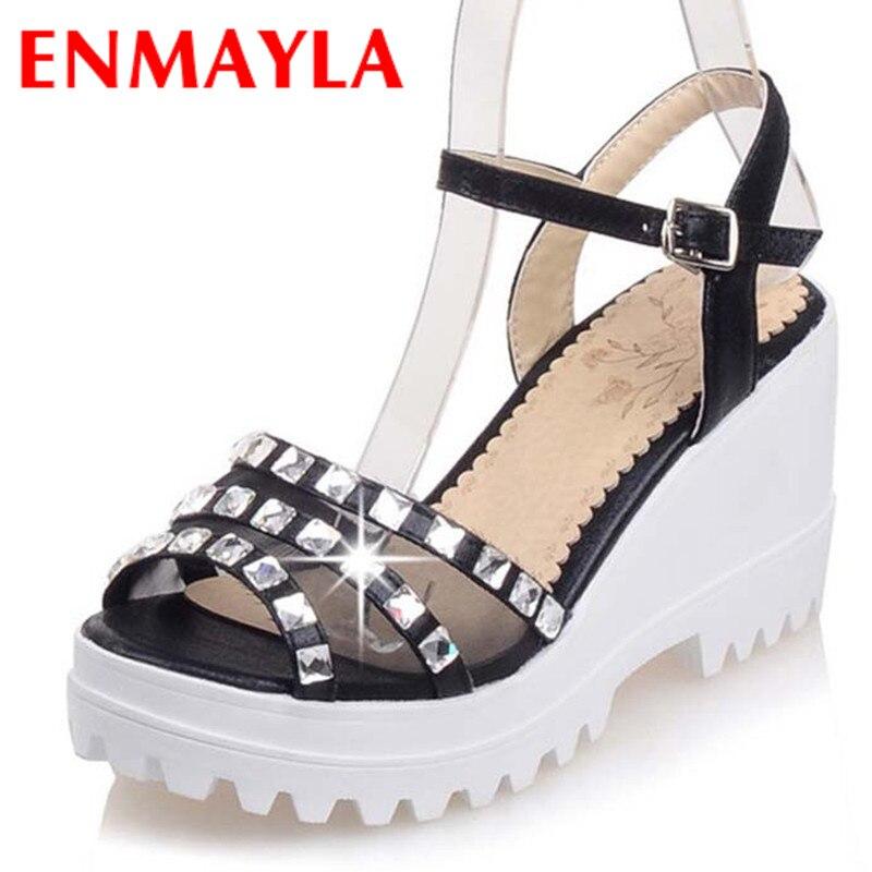ФОТО ENMAYLA New Sexy High Heels Sandals Women Open Toe  Rhinestone Wedges Sandals Wedding Party Pumps Platform Sandals Women Shoes