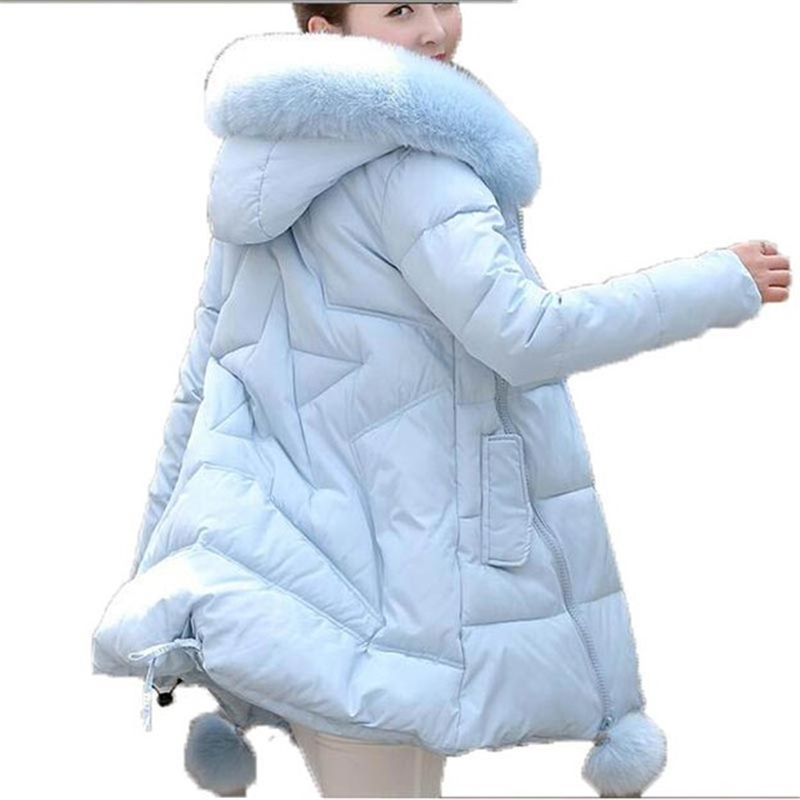 ФОТО Winter Jacket Women 2016 new Faux Fur Collar Hooded Down Parka Female Thicken Warm Outwear Plus Size Jackets And Coats W023