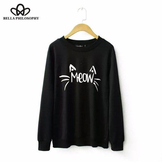 2015 outono inverno plus size gato mulheres de atacado letras impresso mulheres sweatershirt com capuz S-XL preto cinza