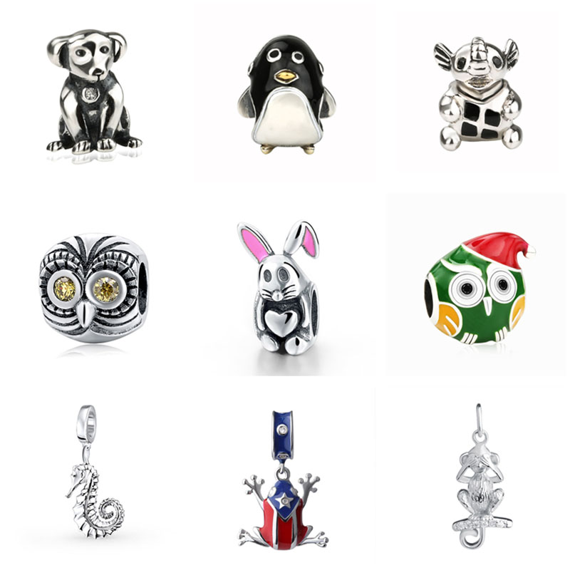 Animal family dog penguin owl elephant frog rabbit charms 925 sterling silver beads fit original pandora bracelet jewelry gifts infinity owl elephant layered bracelet