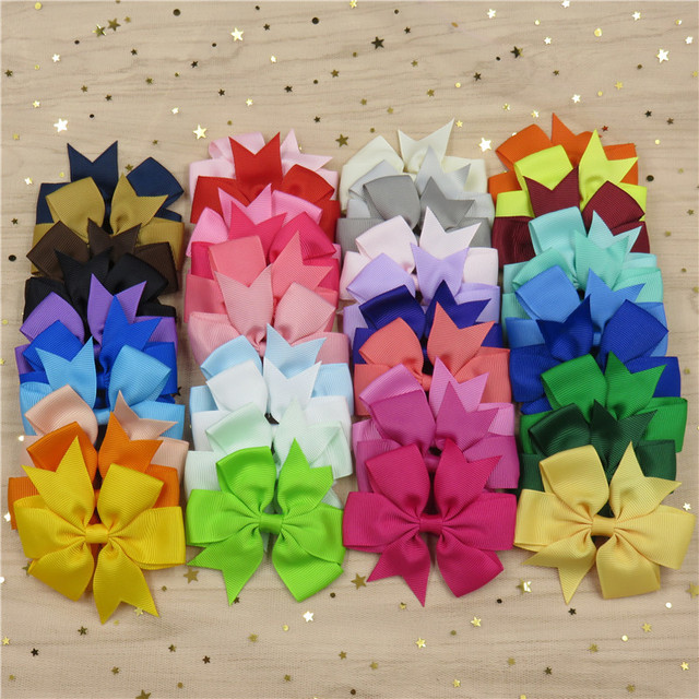 20PCS/Lot Solid Boutique Grosgrain Ribbon Girl Bow Elastic Hair Tie Clip Hair Band Bow DIY Hair Accessories Best Gift 2018