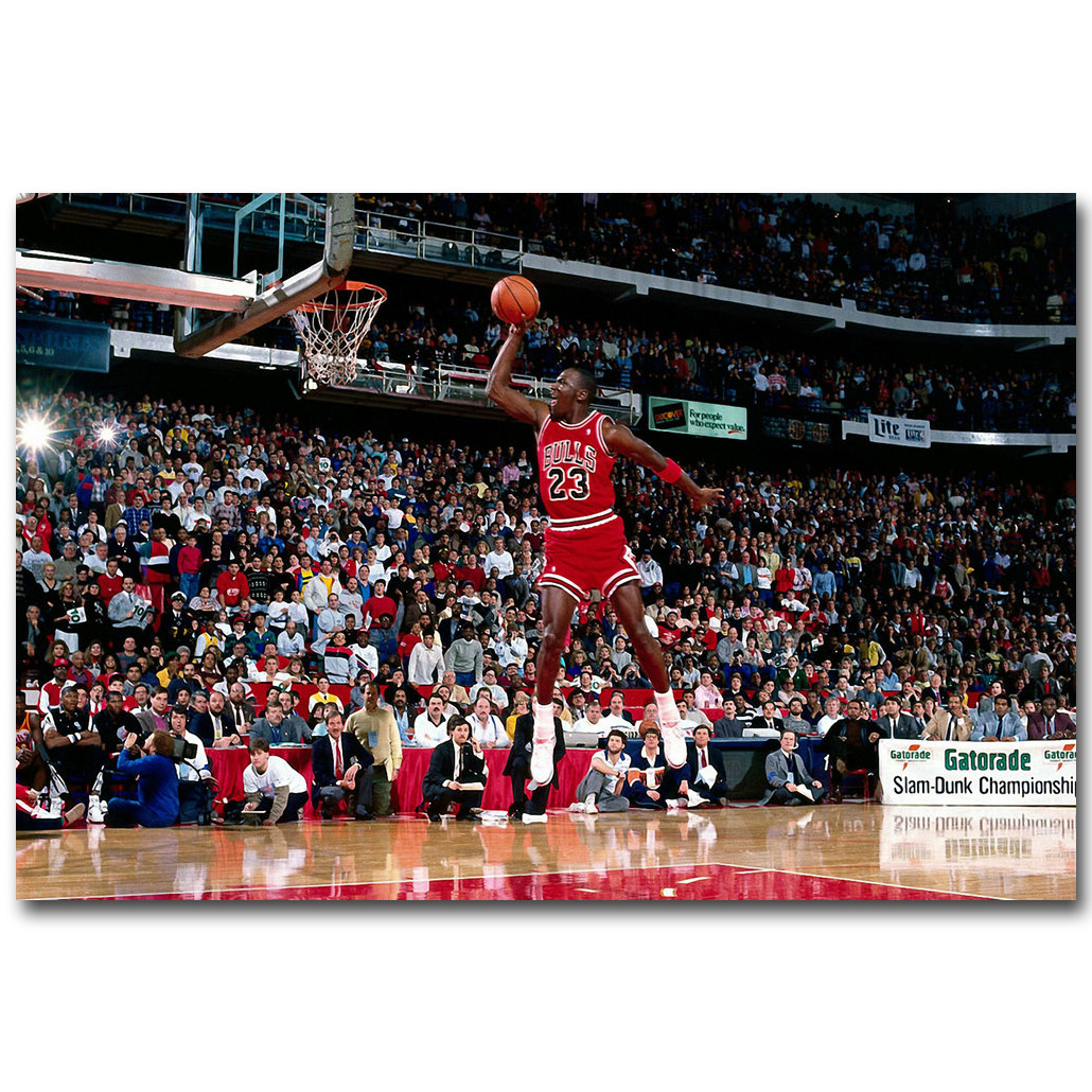 Michael Jordan Foul Line Dunk Art Silk Fabric Poster Print 13x20 ...