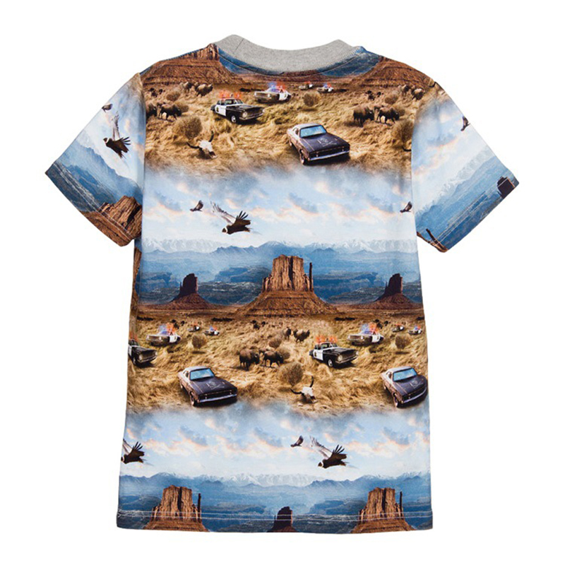 T-Shirts For Boys Summer Cotton Kids Top Print Short Sleeve Toddler Clothes 3D Mountain Police Car Boys T-Shirt Children Clothes (5)
