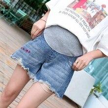 Джинсовые шорты для беременных женщин новые летние тонкие свободные тонкие корейские модные штаны для беременных с вышивкой буквами