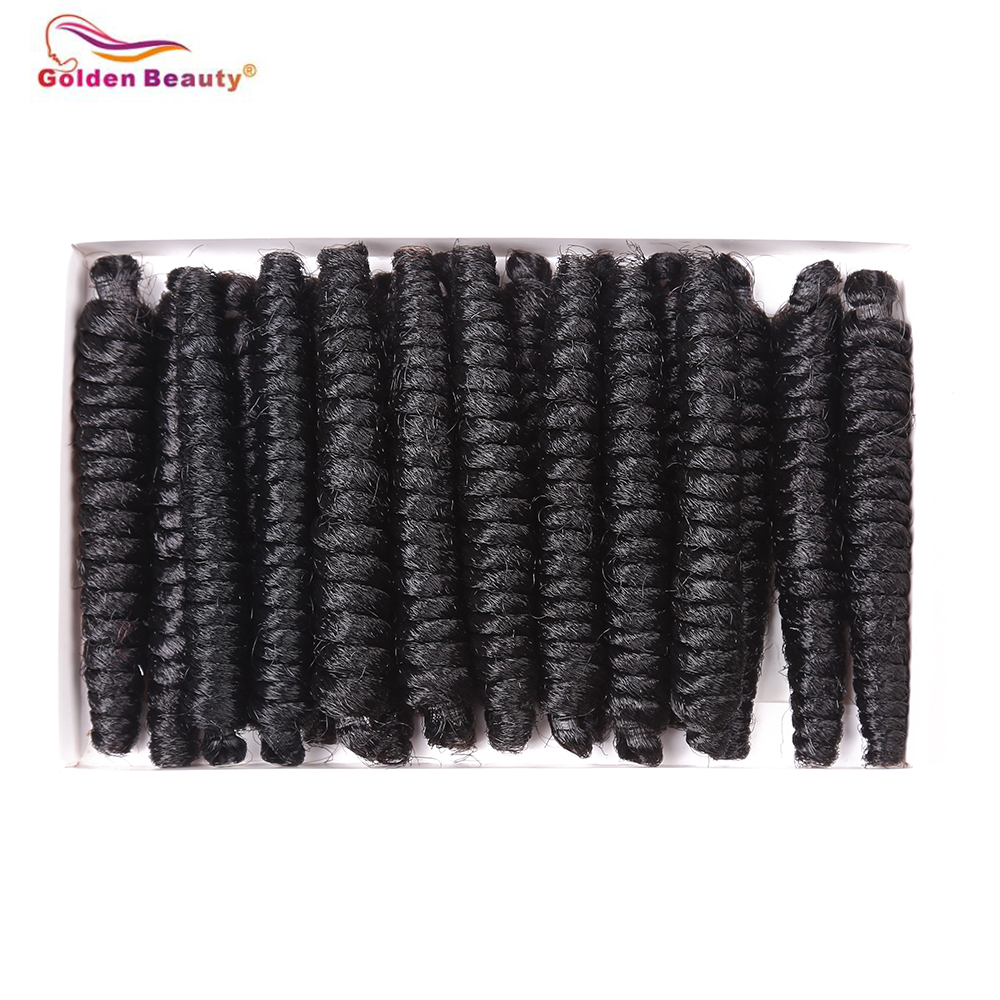 5-6 Packs Short Synthetic Curly Crochet Hair 4inch 20roots/pack Spring Twsit Crochet Braids Hair Black and Blonde Golden Beauty