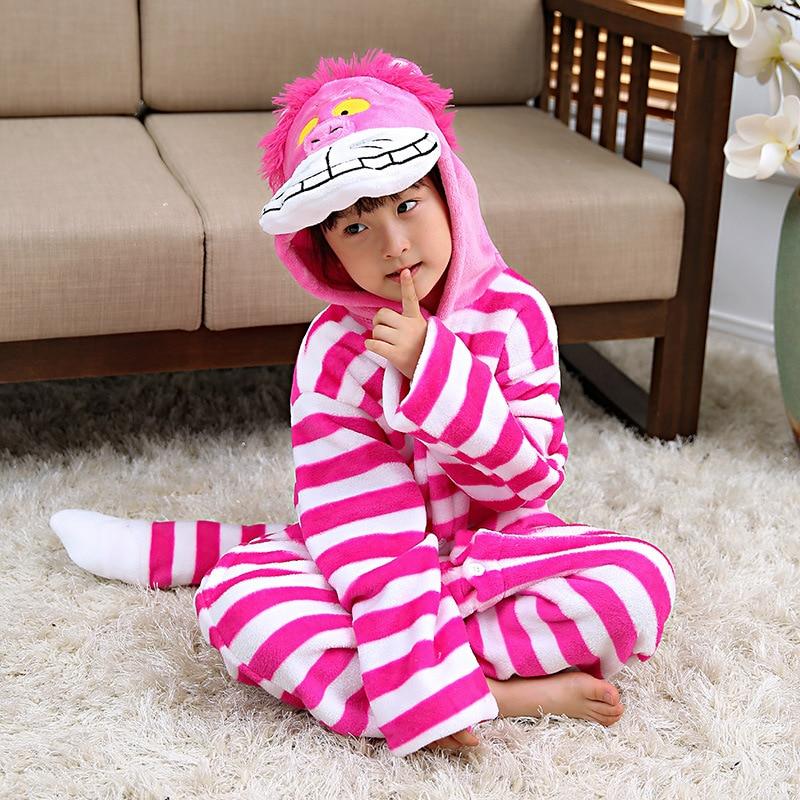 Inverno Maniche Lunghe Cheshire Cat Kigurumi Tutina Per I Bambini Cosplay Costume Ragazzi Animale Dei Bambini di un pezzo Pijama Indumenti Da Notte A Casa