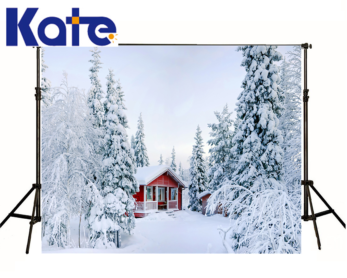 KATE Photography Backdrop 7x5ft Red House Forest Scenery Photography Backdrops White Snow Winter Background For Photo Studio kate photography backdrop winter snow tree castle scenery photography background lighting spot dream backdrops studio