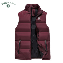 JUNGLE ZONE 2018 new mens sleeveless cotton jacket winter warm vest mens casual vest mens warm jacket cheap Solid JUNGLE ZONE MJ001 Regular Polyester Short Pockets Broadcloth Standard Zipper 0 5-0 65kg Acetate Mandarin Collar None