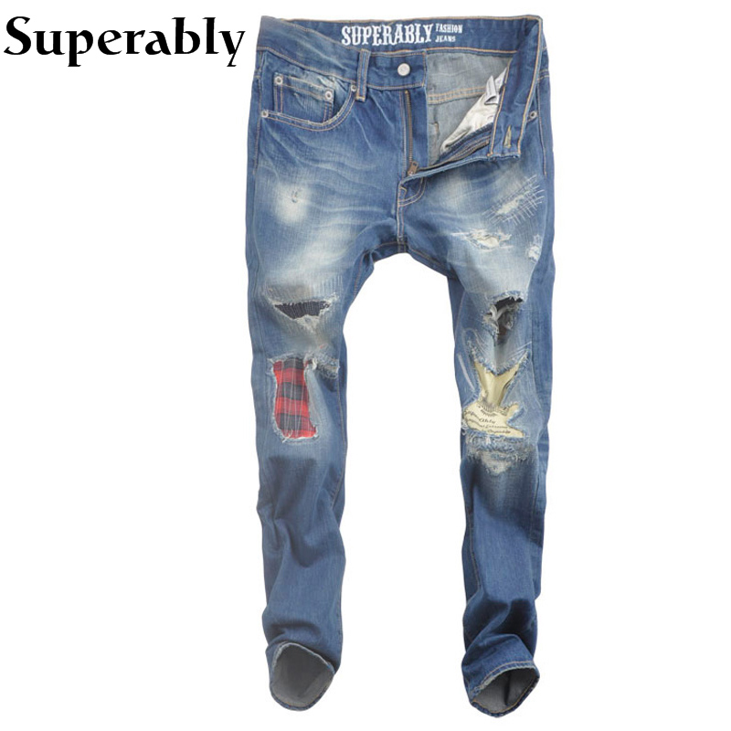 ФОТО Blue Color Denim Men Jeans Destroyed Ripped Jeans Superably Brand Patchwork Casual Pants Straight Fit Mid Stripe Jeans Men