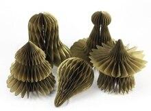 Set of 5 Cute Gold Christmas Honeycomb Ornaments Character Baubles Decor(Santa Cap,Jingle Bell