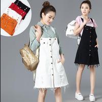 Summer 2016 Womens Elegant Candy Colors Pocket Strap Denim Dress Sleeveless Tassel Casual Overalls Dresses Vestidos
