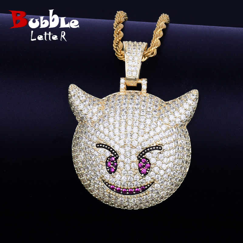 Iced Demon Evil Emoji Pendant With Tennis Chain Gold Silver Color Bling Cubic Zircon Men's Hip hop Necklace Jewelry For Gift