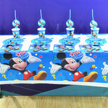 82pcs Mickey Mouse Kids Theme Birthday Party Decoration Straws Plates Cup Tablecloth Flag Knife& Fork Spoon Favors
