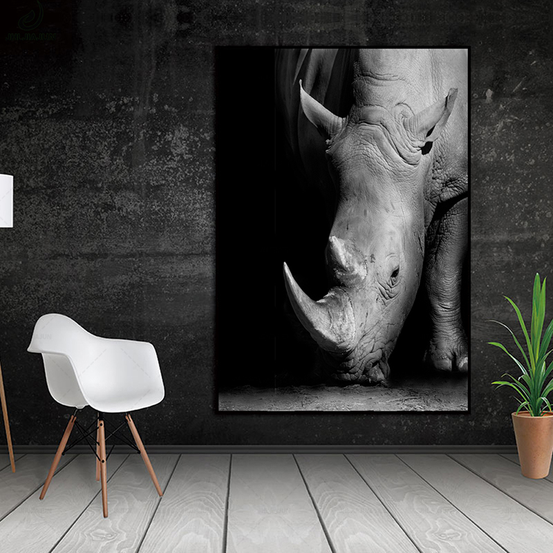 Modern Minimalist Close-up White Rhino Black White Poster