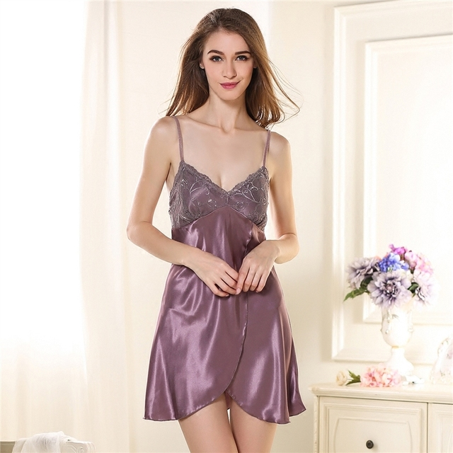 Sexy Camisole Night Skirt Lady Summer Thin Silk Sleeping Dress Woman  Extreme Lure Taste Underwear Lace Homewear eeec64f67