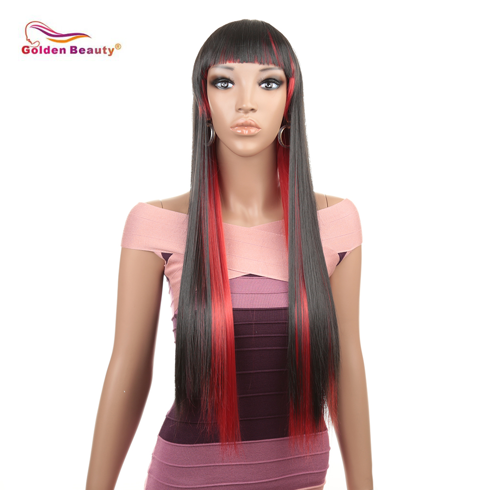Ombre Color Cosplay Wigs Balck+Red Long Natural Straight Black Roots to Grey Synthetic Heat Resistant Straight Wig Golden Beauty