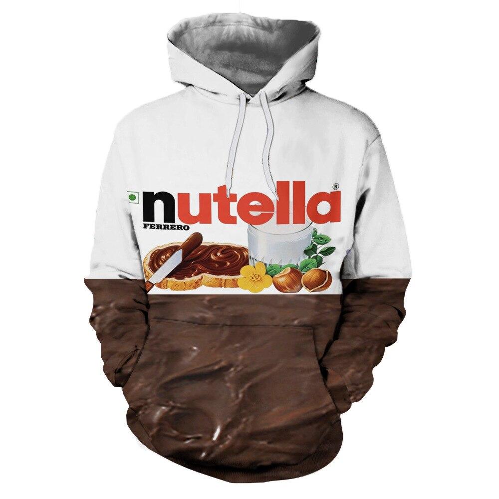 Women/men 3D Sweatshirts Hoodies Nutella Spoof Fun Life Like Food Chocolate Sauce Funny 2018 New Design Fashion Hoodie Hoody