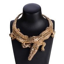 New Design Exaggerated Punk Full Rhinestone Crocodile Necklace for Women Fashion Trend Statement Necklace Collar Bijoux