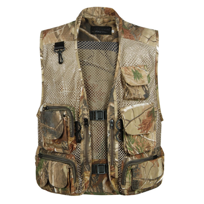 2019 Causal Mens Waistcoat Sleeveless Summer Baggy Multi Pocket Photographers Male Vest Gauze Green Camouflage Gilet For Men
