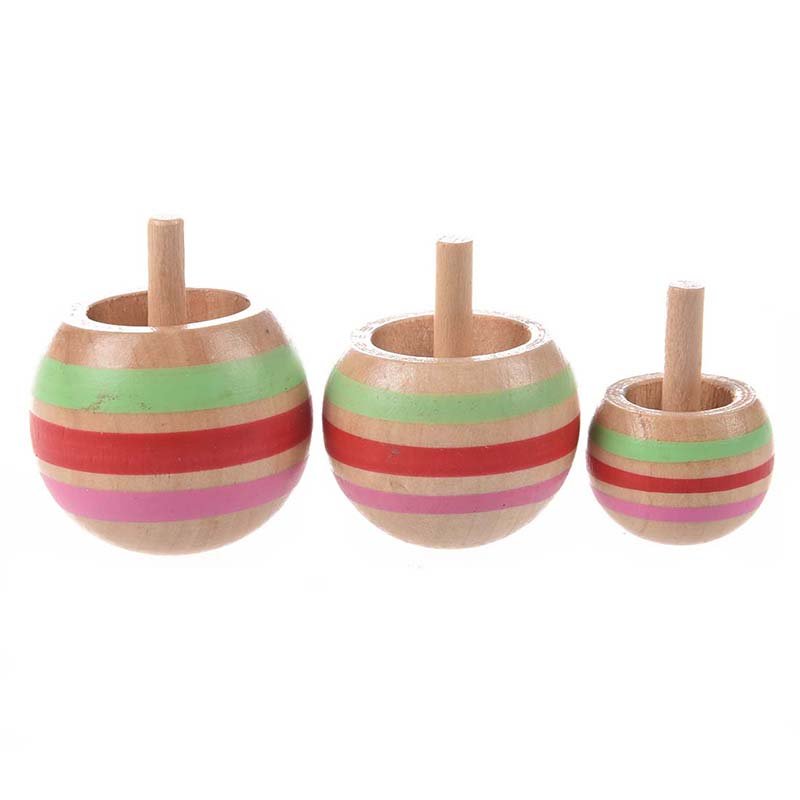 3pcs Wooden Colorful Spinning Top Kids Toy 3 Sizes for Children Above 3 Years Old