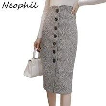 Neophil шерстяная юбка-карандаш средней длины на пуговицах с высокой талией, Офисная элегантная серая Зимняя шерстяная юбка Faldas S1738