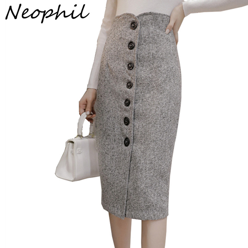 Neophil High Waist Woolen Button Pencil Midi Skirts Office Ladies Office Elegant Grey 2019 Winter Wool Wrap Skirts Faldas S1738