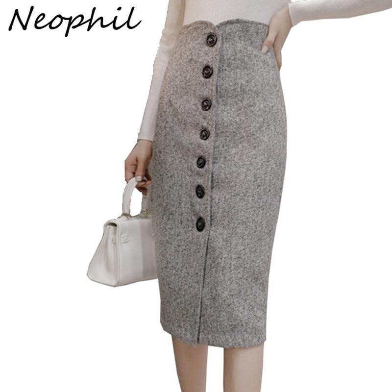 Sinnvoll Neophil Hohe Taille Woll Taste Bleistift Midi Röcke Büro Damen Büro Elegante Grau 2019 Winter Wolle Wrap Röcke Faldas S1738