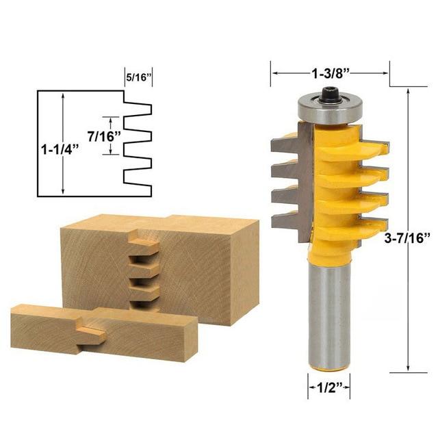 Fixmee 1/2, 1/4 Shank Rail Reversible Finger Joint Glue Router Bit Cone Tenon Woodwork Cutter Power Tools 1pcs drawer front joint router bit reversible 1 2 shank
