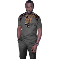 African Fashion Print Tops Men Short Sleeve Shirt Black Tees Patchwork Dashiki Custom Made Africa Style Men's Clothing