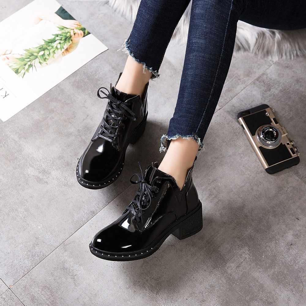 Yeni Moda Bahar Kış Kadın Pompaları Klasik Martin Çizmeler yüksek kaliteli dantel-up Bayanlar ayakkabı PU yüksek topuklu Çizmeler