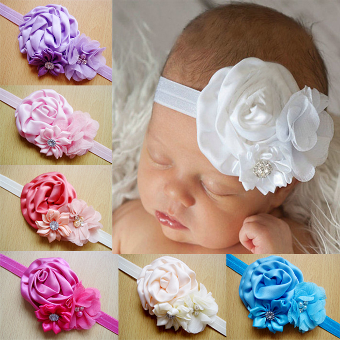 Baby Headband Lace Flower Pearl Girls Newborn Toddler Hair Band Christening Wear