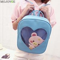 Candy Color Women Backpack PU PVC Transparent Love Heart Shape Backpacks Girls School Bag For Teenager