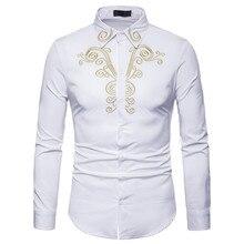 Мужская Осенняя рубашка с вышивкой, благородный стиль, элегантная мужская блуза с длинным рукавом, винтажная одежда, тонкая блуза, новинка