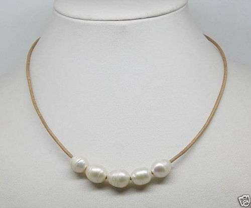10x10 jewerly freeshipping Natural 10-11mm Big White Cultural Pearl Necklace Leather Chain Growing String