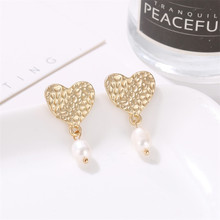 Unique Simulated Pearl Long Dangle Earrings For Women Irregular Heart Drop Earring Gold Color Metal Pendientes Fashion Jewelry