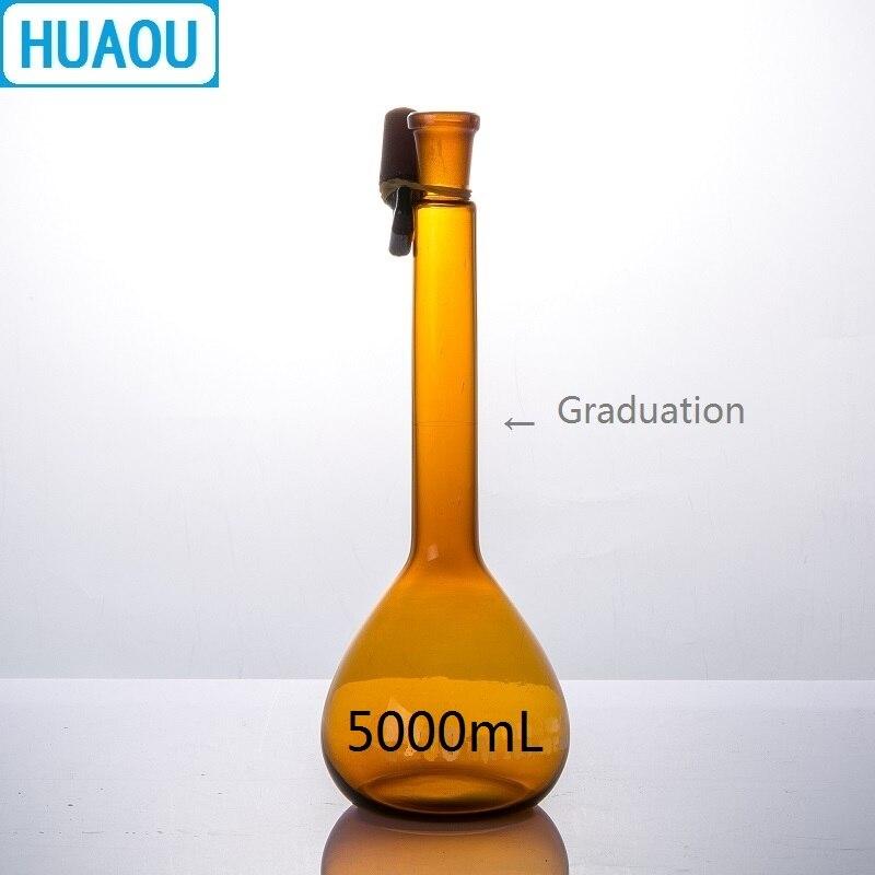 Flacon volumétrique HUAOU 5000 mL classe A verre ambré brun avec une marque de Graduation et un bouchon de verre équipement de chimie de laboratoire