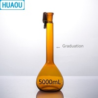 HUAOU 5000mL Volumetric Flask Class A Brown Amber Glass with a Graduation Mark and Glass Stopper Laboratory Chemistry Equipment