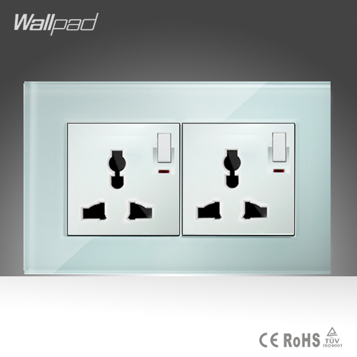146*86mm Double 1 Gang Universal Sokcet Wallpad White Glass Manual Button Switch and 10A Universal Switched Socket Free Shipping 10a universal socket and 3 gang 1 way switch wallpad 146 86mm white crystal glass 3 push button switch and socket free shipping
